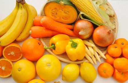 жёлтые овощи и фрукты
